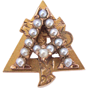 Vintage 10K Alpha Gamma Delta Sorority Pearl Pin 1948