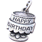 Vintage Signed James Avery Sterling Birthday Cake Charm