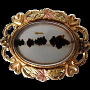 Sweet Signed Black Hills Moss Agate Vintage Brooch
