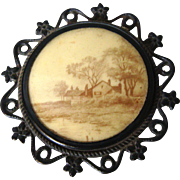 Large Antique Black Picture Homestead Brooch Pin