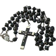 Unique Vintage French Black Metal French Rosary