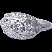 Stunning Deco 14K White Gold Diamond Ring