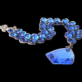 Stunning Sterling Deco Era Crystal Royal Blue Drop Necklace