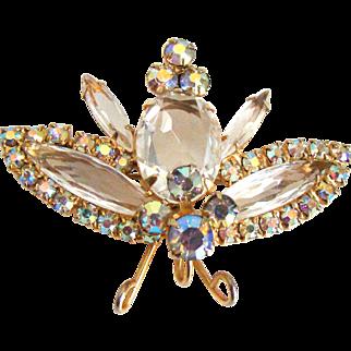 Stunning Vintage  D&E Juliana Moth Butterfly Pendant Brooch