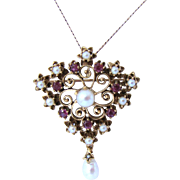 Divine Antique Edwardian Ruby & Pearl Kite Pendant Brooch