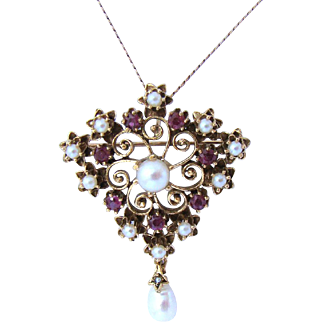 Divine Antique Edwardian Ruby & Pearl Kite Pendant Brooch