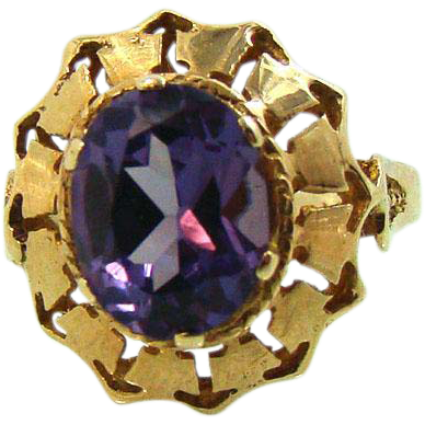 Exotic 14K Vintage Egyptian Synthetic Alexandrite Ring
