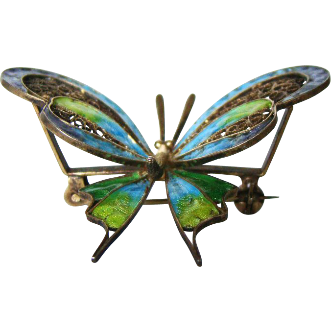 Vintage Enamel 800 Silver Enamel Vermeil Butterfly Brooch Italy