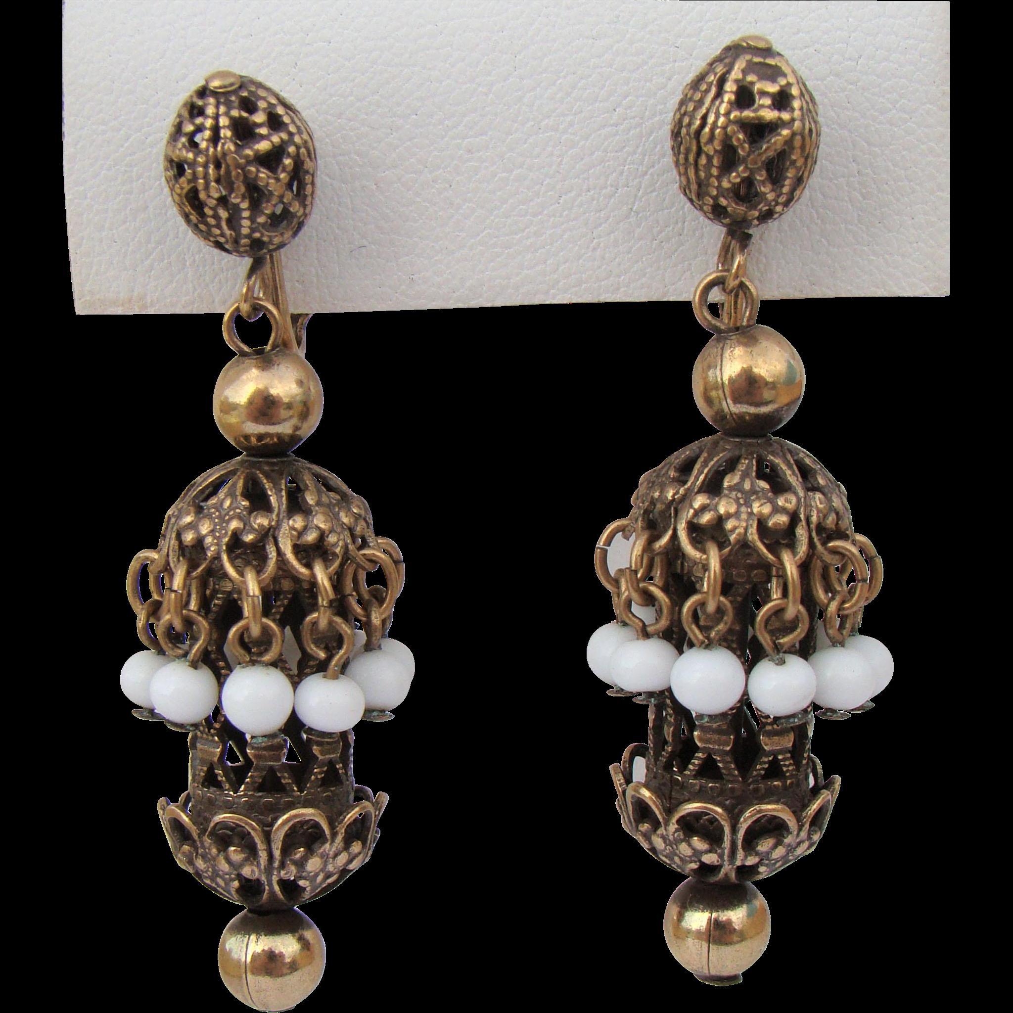 Vintage Haskell White Glass & Gilt Filigree Earrings