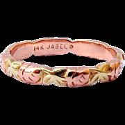 Vintage Signed Jabel Rose Gold Eternity Ring Band