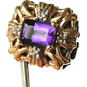 Vintage R. Klein 14K Amethyst Diamond Slide for Bracelet