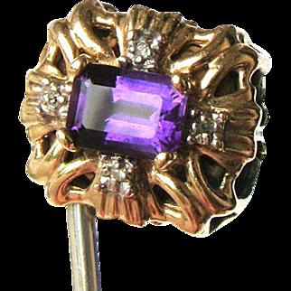 Vintage R. Klein 14K Amethyst Diamond Slide for Bracelet