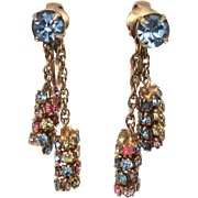Vintage Signed Kramer Rhinestone Dangle Earrings