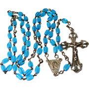 Deco Germany Blue Glass Rosary