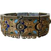 Vintage Signed Sterling Enamel Russian or Turkish Bracelet