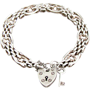 Fully Hallmarked All Original Vintage Sterling Gate Padlock Bracelet With Key