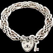 Fully Hallmarked All Original Vintage Sterling Gate Padlock Bracelet With Key