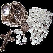 Deco Era Sterling Rosary & Whiting & Davis Mesh Rosary Bag