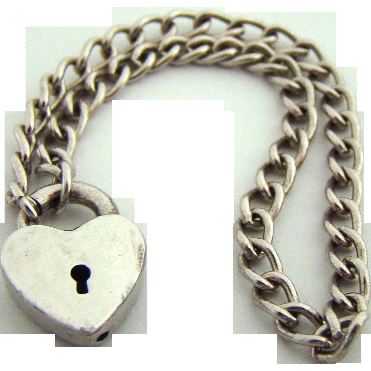 Vintage Sterling 1940's Heart Padlock Charm Bracelet