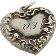 Antique 1903 Victorian Sterling Heart Charm