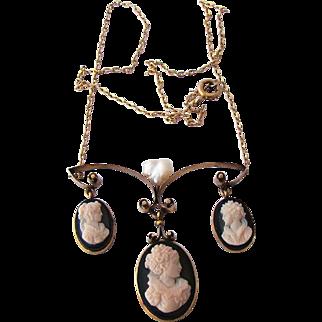Divine Victorian Carved Sardonyx 3 Cameo 12K Necklace