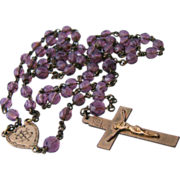 Antique Purple Glass Rosary