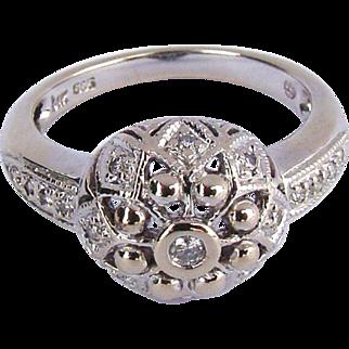 Vintage 14K White Gold Antique Style Diamond Dome Ring