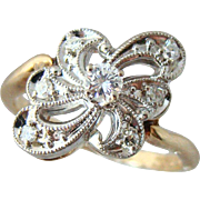 Divine 14k 1935 Signed Vintage Zales Diamond Ring