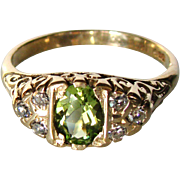 Divine Ca 1900 Victorian 18CT 6.2 Grams Signed Diamond & Peridot Ring