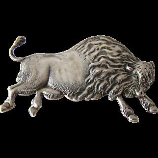 Large Vintage Sterling Bison Buffalo Brooch
