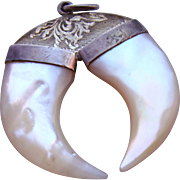 Large Antique Sterling Silver Double Claw Mother of Pearl Pendant
