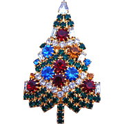 Sparkling Signed Vintage Eisenberg Ice Christmas Tree Brooch / Pin