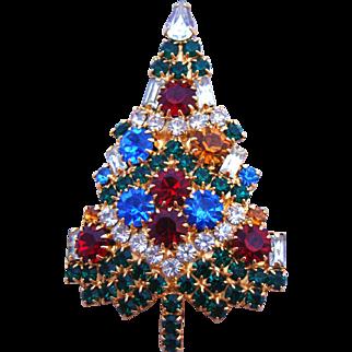 Sparkling Signed Vintage Eisenberg Ice Christmas Tree Brooch / Pin