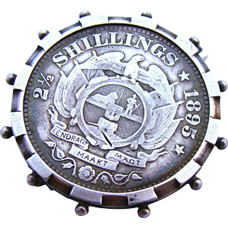 Large Sterling Silver 2 1/2 Shillings Love Token Coin Brooch