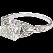 Art Deco 1.04cts European Cut Diamond Platinum Engagement Ring 1920's Vintage
