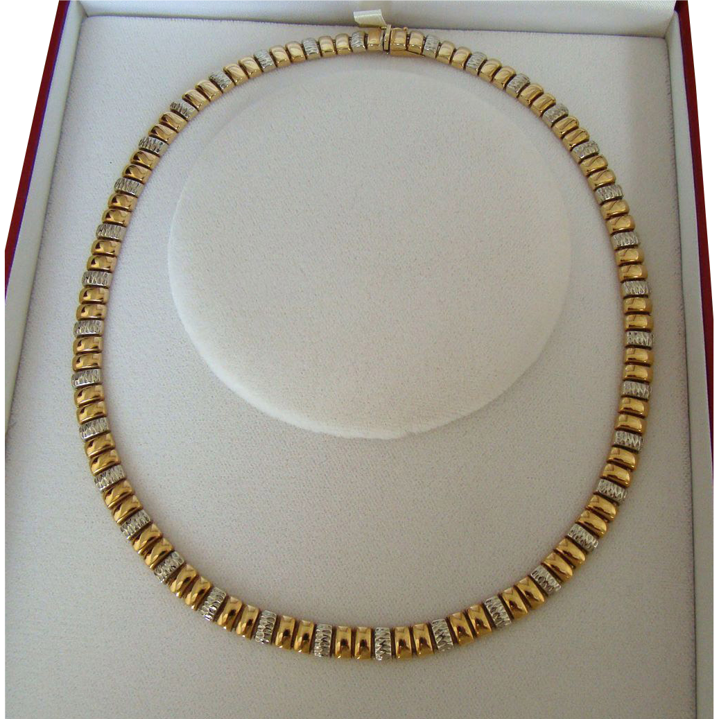 Stunning Vintage 35.8 Gram Bi-Color 14K Italian Necklace