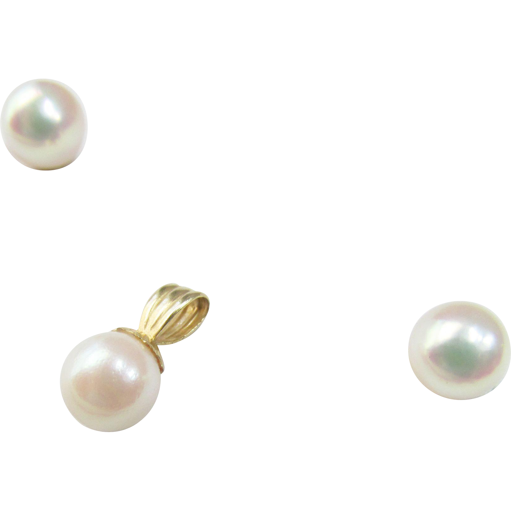 Beautiful 14K Cultured Pearl Pendant Earrings Set Vintage