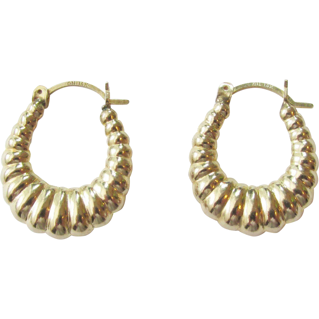 "14K Gold Puffy Hoop Earrings 1980""s"