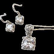Sterling Silpada Fleur De Lis Pendant Earring Set Large CZ Vintage