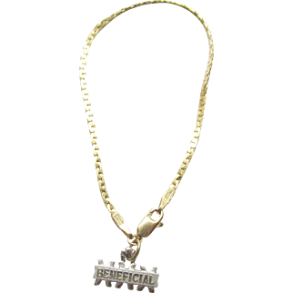 14K Yellow and White Gold Bracelet and Charm 4.45 grams