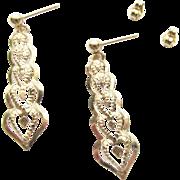 14K Gold Heart Dangle Pierced Earrings Estate