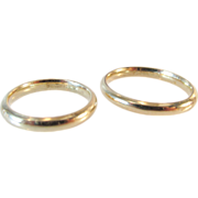 Pair Wedding Ring Bands 1/10 10K Sterling Vintage