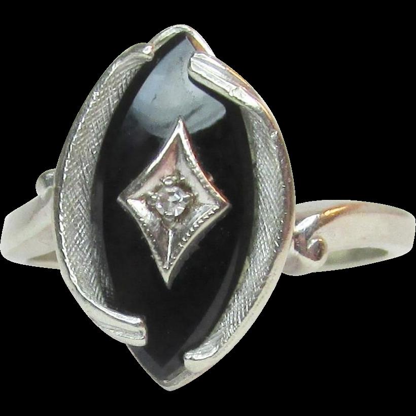 deco 10k white gold onyx ring vintage ca 1930