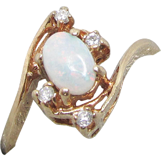 Opal and Diamond 10K Gold Ring Vintage