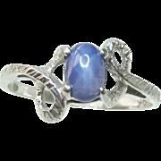 10K White Gold Star Sapphire Vintage Ring