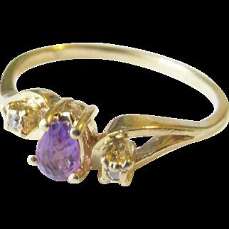 14K Amethyst Diamond Ring Vintage