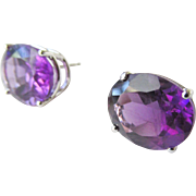 14K White Gold Large Amethyst Stud Pierced Earrings 3.30 Grams 4.27 TCW Each Estate