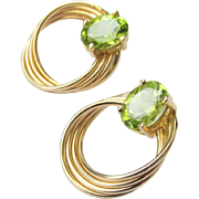 14k Gold Peridot 2.53 g Pierced Earrings Vintage