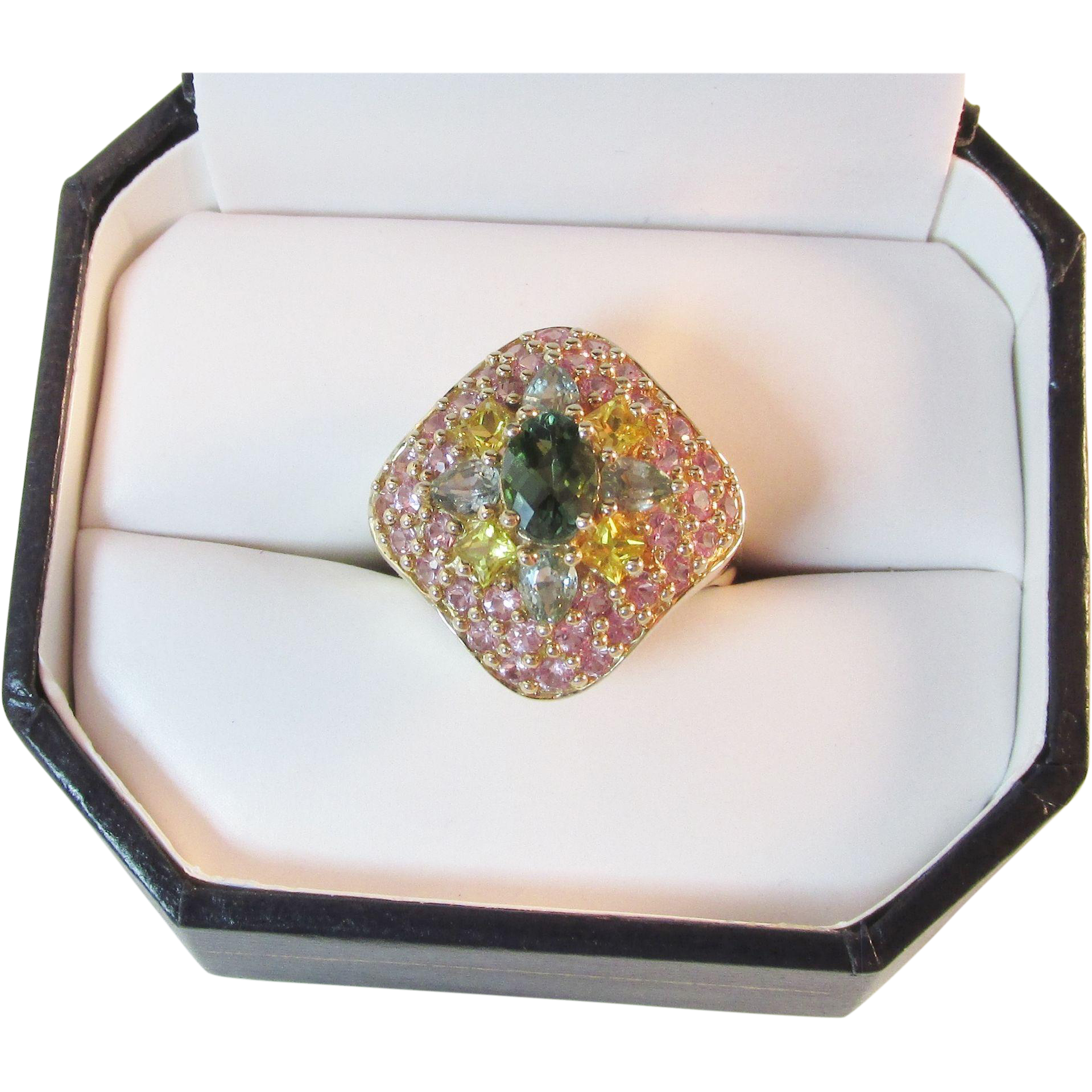 Outrageous 14k Pink & Teal Tourmaline, Yellow Sapphire Cluster Cocktail Ring Vintage