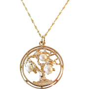 Stunning Large 14 Karat Gold and Pearl Pendant / Charm Tree of Life Vintage 3 Dimensional 5.60 Grams